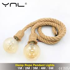 Vintage Hemp Rope Pendant Lights 5M 4M <b>3M 2M 1M</b> Loft Retro ...