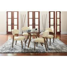 Paxton Mid-Century Modern Glass <b>Five</b>-<b>Piece Dining Table</b> Set ...