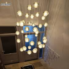 diy modern led crystal pendant lights fixtures magic crystal ball lustre loft stairwell crystal lighting meteor banner5 stair lighting