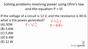 solving problems involving power using ohm s law and the 6 2 3 2 solving problems involving power using ohm s law and the equation p vi mp4