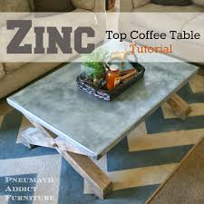 images zinc table top: zinc top coffee table tutorial pottery barn knock off