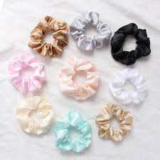 <b>Silky Satin</b> Solid Color Hair Tie Rope Girl <b>Elastic</b> Hair Ring ...