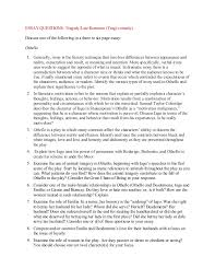 othello tragedy essay elit  essay  essay questions tragedylate romance tragi comedy
