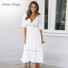 2019 <b>Wildpinky</b> New White Lace Up Long <b>Sexy Women Summer</b> V ...