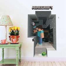 2017 <b>New</b> Minecraft <b>3D Wall Sticker</b> For Kids Room Wallpaper ...