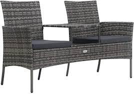vidaXL 2-Seater Garden Sofa with Tea Table ... - Amazon.com
