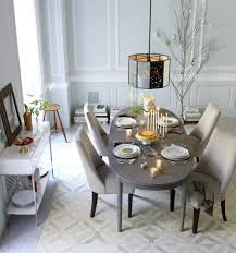 Gray Dining Room Staggered Wood Dining Table C Restaurant Kitchen Design Layout