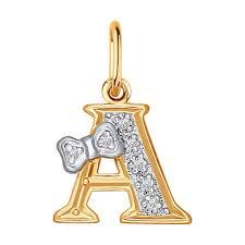 Золотая подвеска-<b>буква</b> «А» <b>SOKOLOV</b> – купить в официальном ...