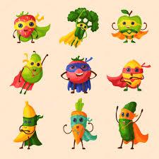 Superhero fruits vector fruity <b>cartoon</b> character of <b>expression</b> ...