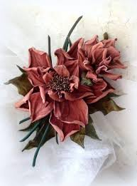 <b>Dusty Pink</b> Leather Corsage flower Dark pink leather dahlia ...