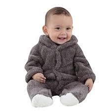 kaiCran Unisex Baby Hooded <b>Rabbit Ear</b> Jumpsuit Bodysuit Boys ...