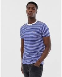 Купить мужскую бело-синюю <b>футболку</b> с круглым вырезом в ...