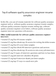 top 8 software quality assurance engineer resume samples in this file you can ref resume resume format for quality engineer