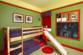 beautiful green red wood cool design small space kids bedroom green wall paint bunk living spaces bedroom living spaces small