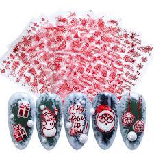 <b>18pcs 3D Christmas</b> Nail Stickers Gold Red Transfer Decals Santa ...