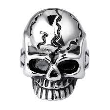 Heavy <b>Gothic Skull</b> Biker Stainless Steel Men's Ring High Polish ...
