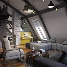 three dark colored loft apartments with exposed brick walls beautiful home office design ideas attic