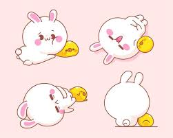 Free Vector | Set of <b>cute rabbit</b> with duck cartoon illustration