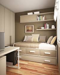 modern and sleek small tween bedroom design with wooden floor and loft bedding and floating shelfs bedroom office decorating ideas simple workspace