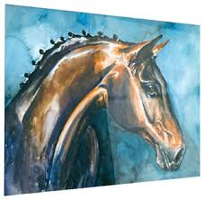"""""""<b>Brown Horse</b> on Blue"""" Watercolor - Contemporary - Metal Wall Art ..."""