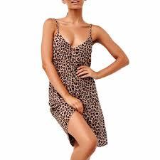 Leopard <b>dress</b> Womens Sexy Fashion Open Splice Print <b>Spaghetti</b> ...