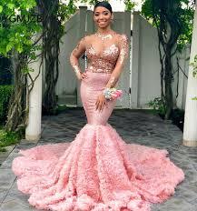 Sparkly Sexy <b>Pink Prom Dress 2019</b> Mermaid Long Sleeves Black ...