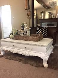 white chalk paint coffee table rustic furniture farm house distressed shabby cottage chic style heavy rectangle chalk paint coffee table