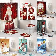 <b>4Pcs Merry Christmas</b> Bathroom set Snowman <b>Santa</b> Father Bell Elk ...