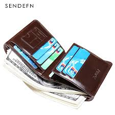 SENDEFN Short Wallets <b>Genuine Leather Brand</b> Bifold Wallet Mens ...