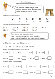 MathSphere Free Sample Maths WorksheetsRoman Numerals Maths Worksheet