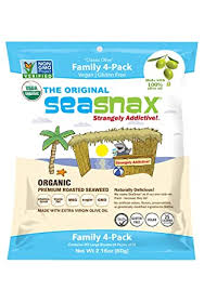 SeaSnax Organic <b>Roasted Seaweed</b> Snack <b>Classic Olive</b>, 2.16 oz ...