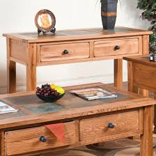 designs sedona table top base: sunny designs ro sedona sofa console table with slate top in rustic oak