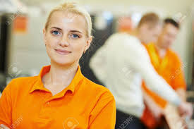 positive s assistant portrait in home appliance shop positive s assistant portrait in home appliance shop supermarket store stock photo 31776797