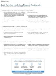 quiz worksheet analyzing a biography autobiography com print practice analyzing and interpreting a biography autobiography worksheet