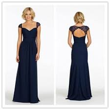 Long Navy Blue Chiffon Bridesmaids Dresses <b>Sweetheart Lace</b> Cap ...