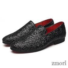 Black Glitters Sparkles <b>Mens</b> Oxfords Loafers Dress <b>Shoes Flats</b> in ...