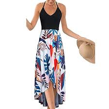 KYLEON Women's <b>Dress</b> Boho Floral V Neck Sleeveless <b>Patchwork</b> ...
