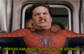 Spiderman peter parker muffled rap music peter stops the train ... via Relatably.com