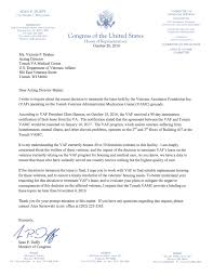 duffy letter to tomah va regarding vaf lease termination duffy letter to tomah va regarding vaf lease termination