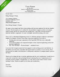 cover letter for mechanical engineers industrial engineer cover letter