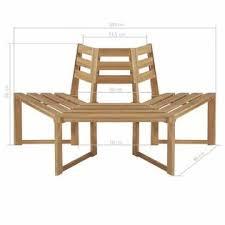 """vidaXL 44251 <b>Tree Bench Half-hexagonal</b> 63"""" Solid Acacia Wood"""