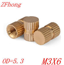 100pcs OD=5.3 M3*6 blind <b>end</b> Brass Insert <b>Knurled Nut</b> ,M3 blind ...