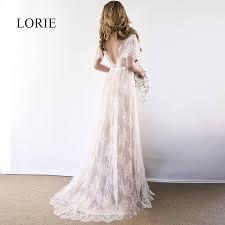 <b>LORIE Boho</b> Wedding Dress 2019 V Neck Cap Sleeve Lace <b>Beach</b> ...
