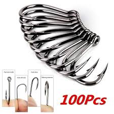 100pcs fishing barbed hook sharpened treble hooks 3 0 2 0 1 0 2 4 6 8 10 silver high carbon steel sea ice boat lake tackle