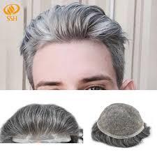 <b>SSH</b> Human Hair <b>Fine Mono</b> Durable <b>Mens</b> Toupee Poly Around ...