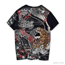 Punk Mens T-Shirt High Quality Black Japanese Pattern Embroidery ...