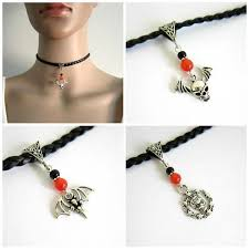 <b>Halloween</b> black <b>faux</b> leather, silver choker necklace, cat's eye ...