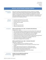 medical receptionist resume samples templates and tips online medical receptionist resume