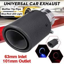 Universal Matte Carbon Fiber Car <b>Exhaust</b> Pipe Tail <b>Muffler</b> Tip <b>LED</b> ...