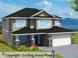 Modern House  Garage  amp  Dream Cottage Blueprints by Exciting Home PlansWinston   Grade Level Entry   Front View of House
